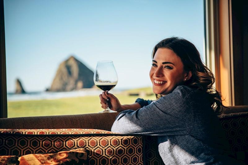 Enjoying Adelsheim Wine at the Oregon Coast