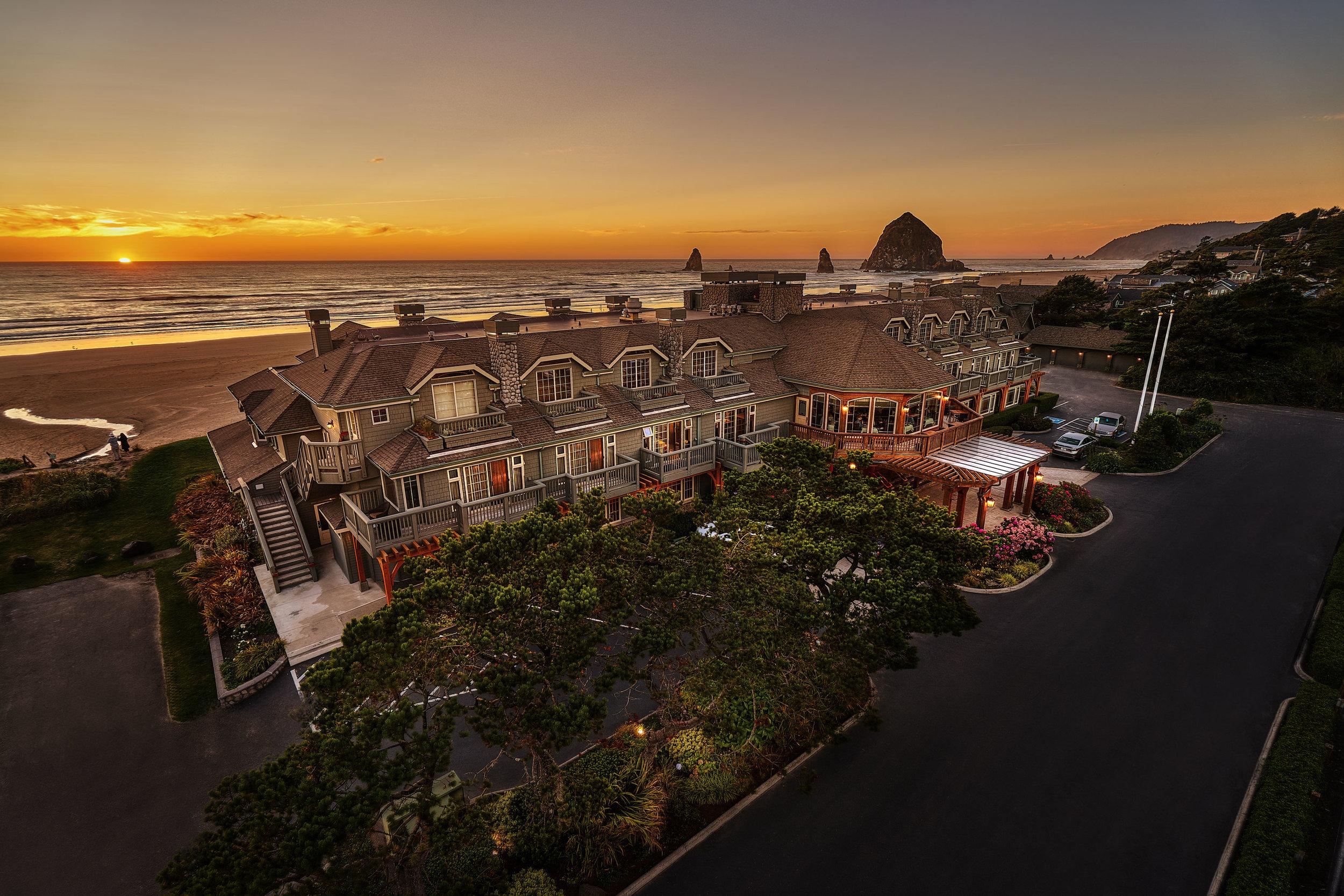 Aerial Photo of the Stephanie Inn at Sunset