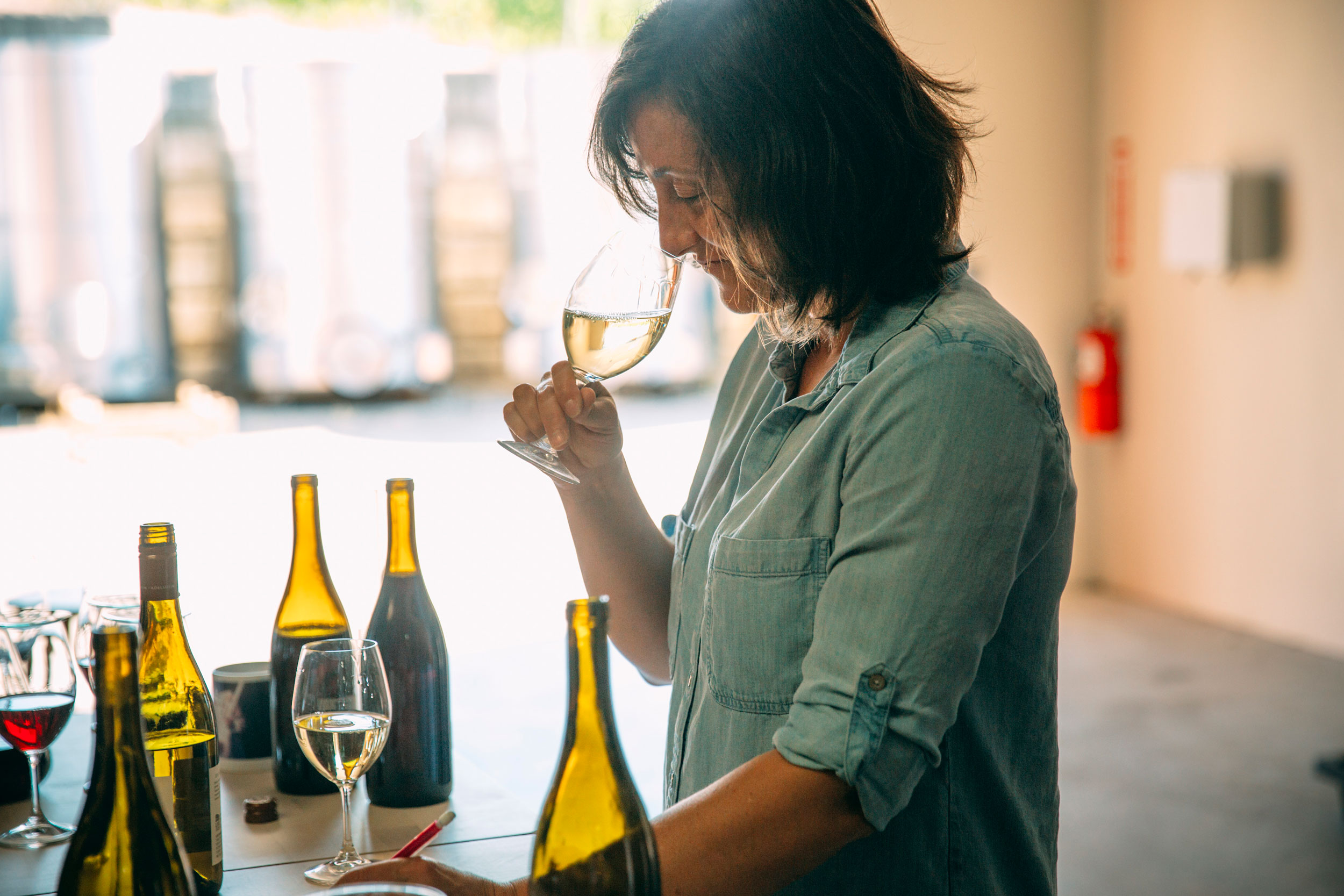 Gina Hennen Tastes Different Wines