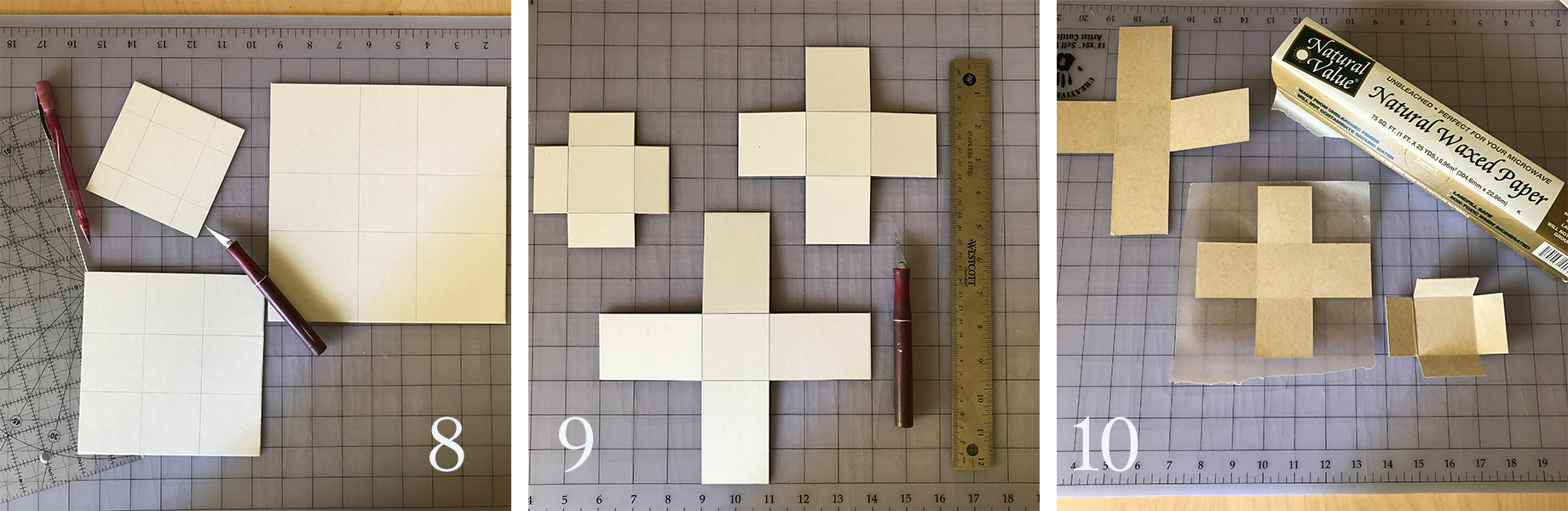 8. On scrap cardboard, measure and mark where you will score/cut to create a base and sides that fold up. (No top needed.)  9. Score where the folded portions need to be and cut away the corner pieces.  10. Using glue stick or spray adhesive (wear a mask if you use the spray. It's kind of nasty stuff.), adhere waxed paper to what will be the insides of the forms. Cut away excess waxed paper and fold up the sides of your forms. The waxed paper will act as a release agent for the cement and will save us time having to sand off paper fibers.