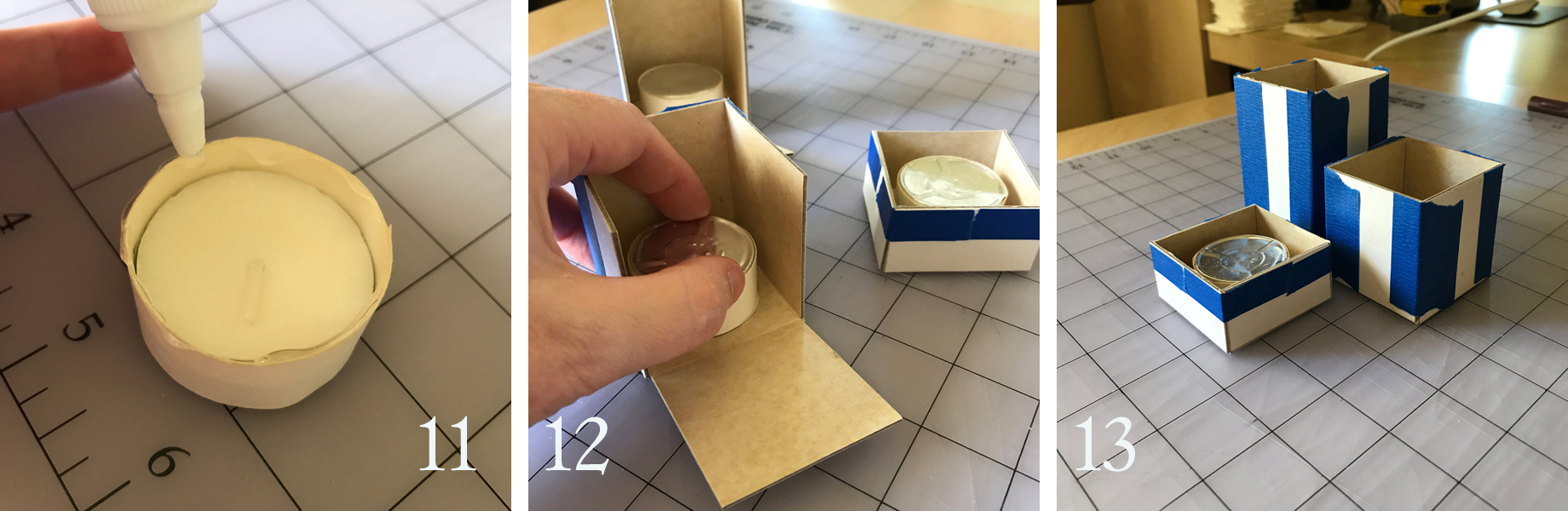 11. Run a bead of craft glue around the edge of the wrapped tea light.  12. Set it glue-side down inside the form. Repeat for the other candles if you're creating more than one.  13. After the glue has had a chance to set, tape up the open edges. Note, handle the forms lightly at this point. You don't want to disturb the adhesion of the glue or coax the waxed paper off the cardboard. These elements are intentionally adhered minimally for ease of removal later.