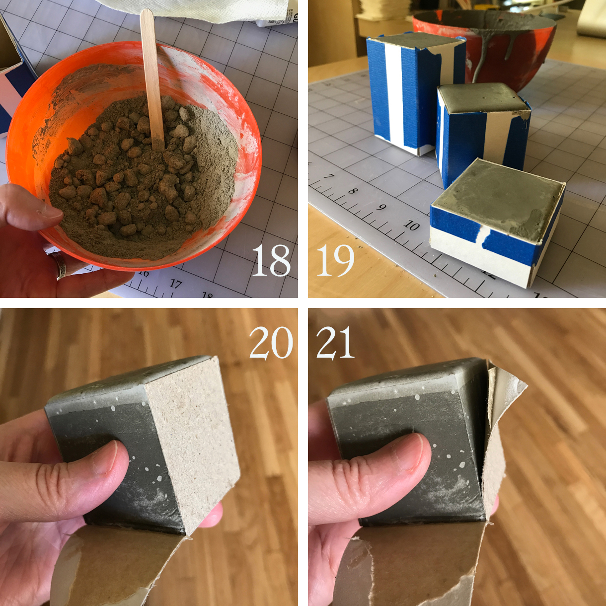 18. Begin mixing a new batch of cement—preferably in a plastic bowl (reserved for this; you won't be able to use it for much else after this). Do this as you did before, but with a larger amount, it's safe to add two pipettes of water at a time instead of just one. You want the finished mixture to resemble Greek yogurt, not melted milkshake. If your mixture gets too runny, add more powder.   19. Pour the mixed cement into your form(s). If you didn't mix enough to fill it, don't panic. Just mix more in the same bowl. As you do this multiple times, the cement will begin setting on the surface of the bowl. This is OK; keep going, mixing the best you can. Fill your forms to the point it looks like they're on the verge of overflowing. Tap the filled forms on your table to encourage the cement to go where it needs to and for air bubbles to release.  20. Let the piece(s) cure for at least an hour. If they feel warm still, leave them for longer. If they feel hard and cool, you're probably safe to remove the form(s). Peel off the masking tape from the corners and then starting with one side, peel the cardboard away from the semi-set cement. Sometimes the paper will separate into layers, leaving the side stuck to the cement.   21. Just gently use your thumbnail to get under the waxed paper. It will peel right off. Peel all of the cardboard off the form(s).