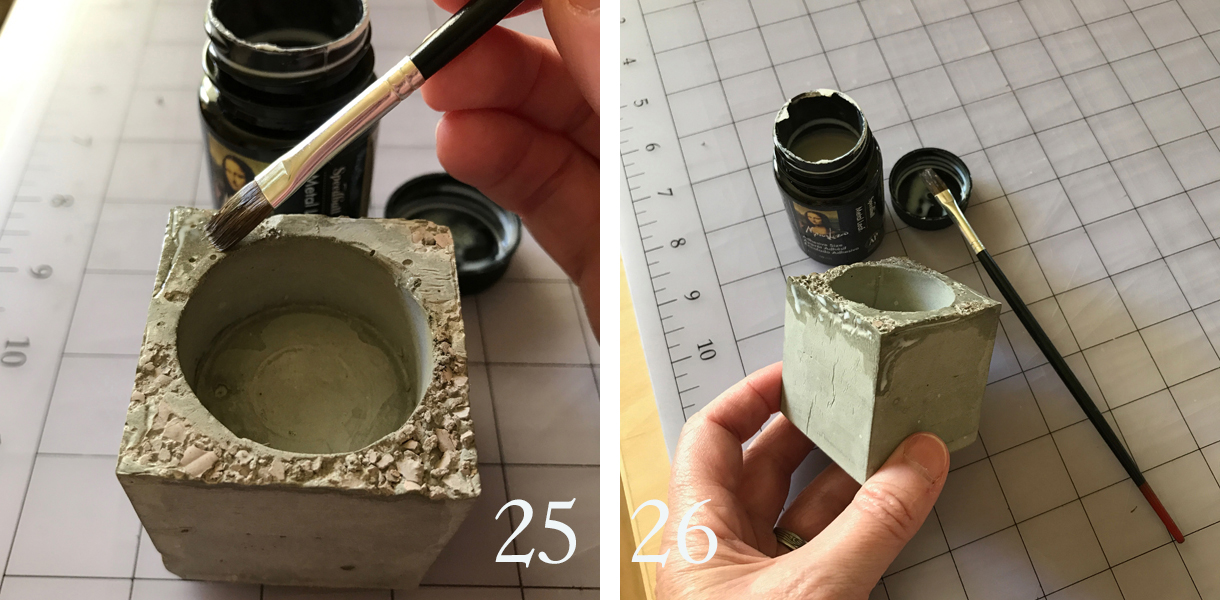 25. Brush the sizing (adhesive) lightly over areas on the top(s) of the holder(s) where you want to adhere some metallic leaf.  26. Also brush some on the sides. This will appear milky when it goes on, but will be completely clear and sticky when dry.