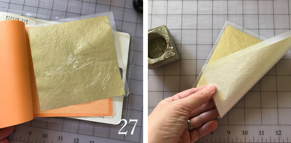 27. When the adhesive is dry but sticky, you can apply the metallic leaf. Take a sheet from the package. Inspect it so you know which side has the leaf on it and which is the back/liner.