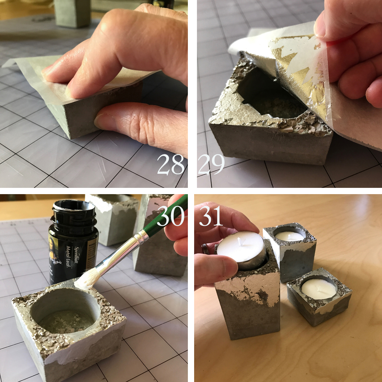 28. Press the leaf side of the sheet over an area that has adhesive. Burnish well with your fingers.  29. Gently peel back the sheet and the leaf will be left behind on the cement. Repeat this over the same area if not enough adhered and also repeat it over the rest of the piece(s) until you are happy with the amount of leafing. Loose bits can be brushed away with your fingers or a dry soft brush.  30. Apply a coat of sealer over the entire piece(s). This will ensure your metallic leaf will not tarnish or rub off. It will also seal the cement so it won't stain as easily.  31. Drop in your tea lights and you're ready for a special meditation! (Or a romantic dinner. Or both!)