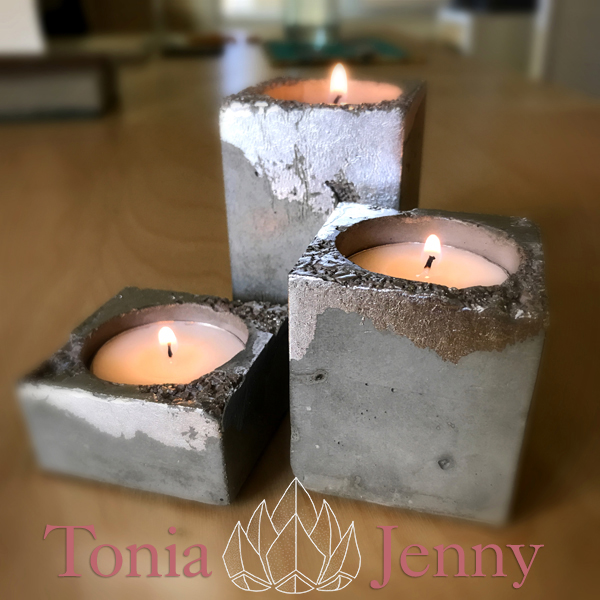 Add sparkle to your meditation practice with a cement candle holder you create yourself!