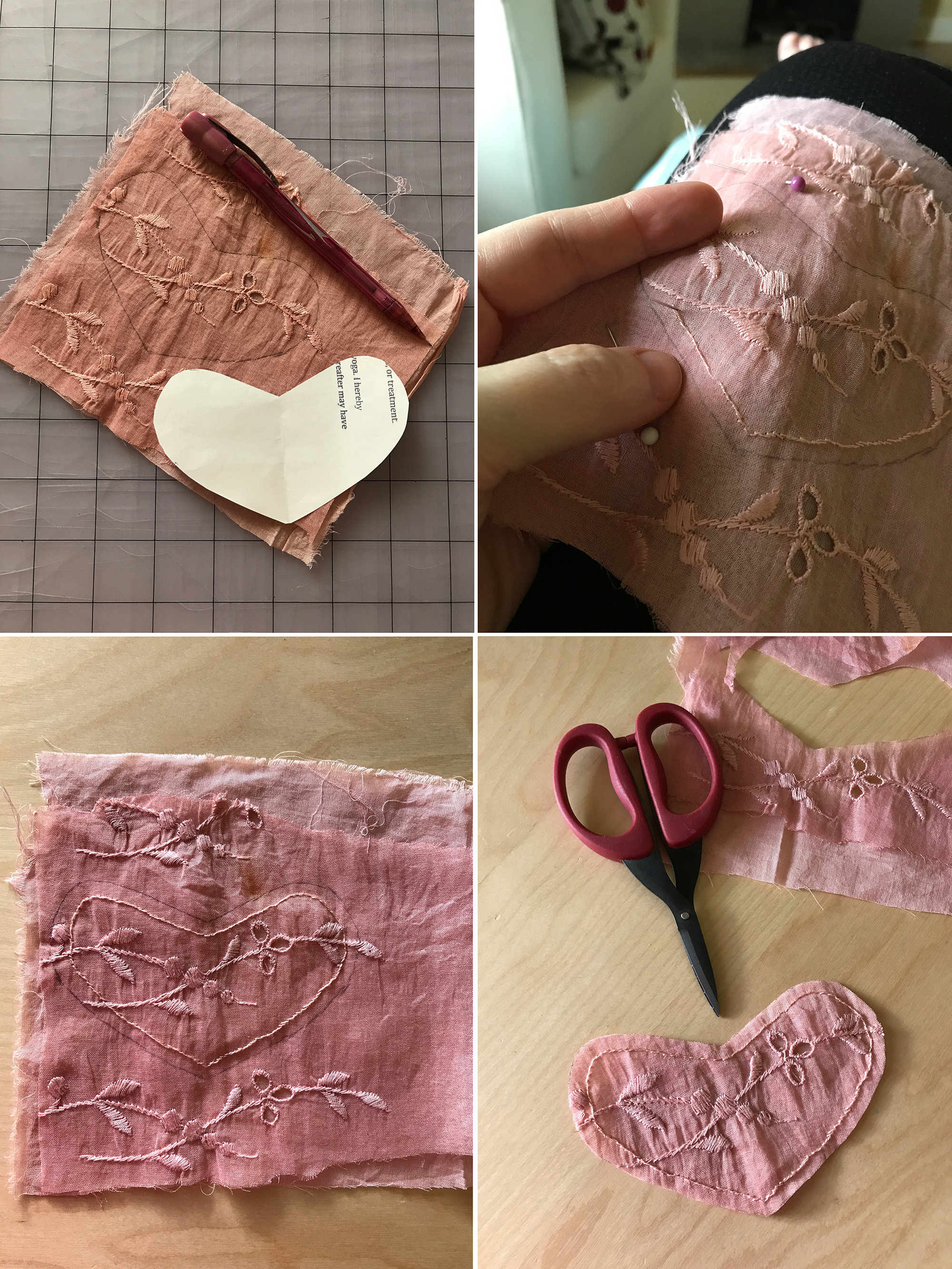 """1. Cut a heart shape from paper that's approximately 2-1/4"""" x 4-1/4"""" (6cm x 11cm). Using a pencil, trace the shape over the portion you wish to use of the dyed lace. Stack this over a solid piece of fabric and secure together with two or three pins.  2. Thread an embroidery needle with a single strand of pink floss. Working about 1/8"""" (3mm) in from the pencil line, use a back stitch to create a line around the perimeter of the heart and secure the two layers together. Take your time with this and begin to feel your own heart unclench just a bit as you work.  3. Continue around until you're back where you started and tie a small knot on the back to finish.  4. Use sharp scissors to cut out your heart shape around along the pencil line."""