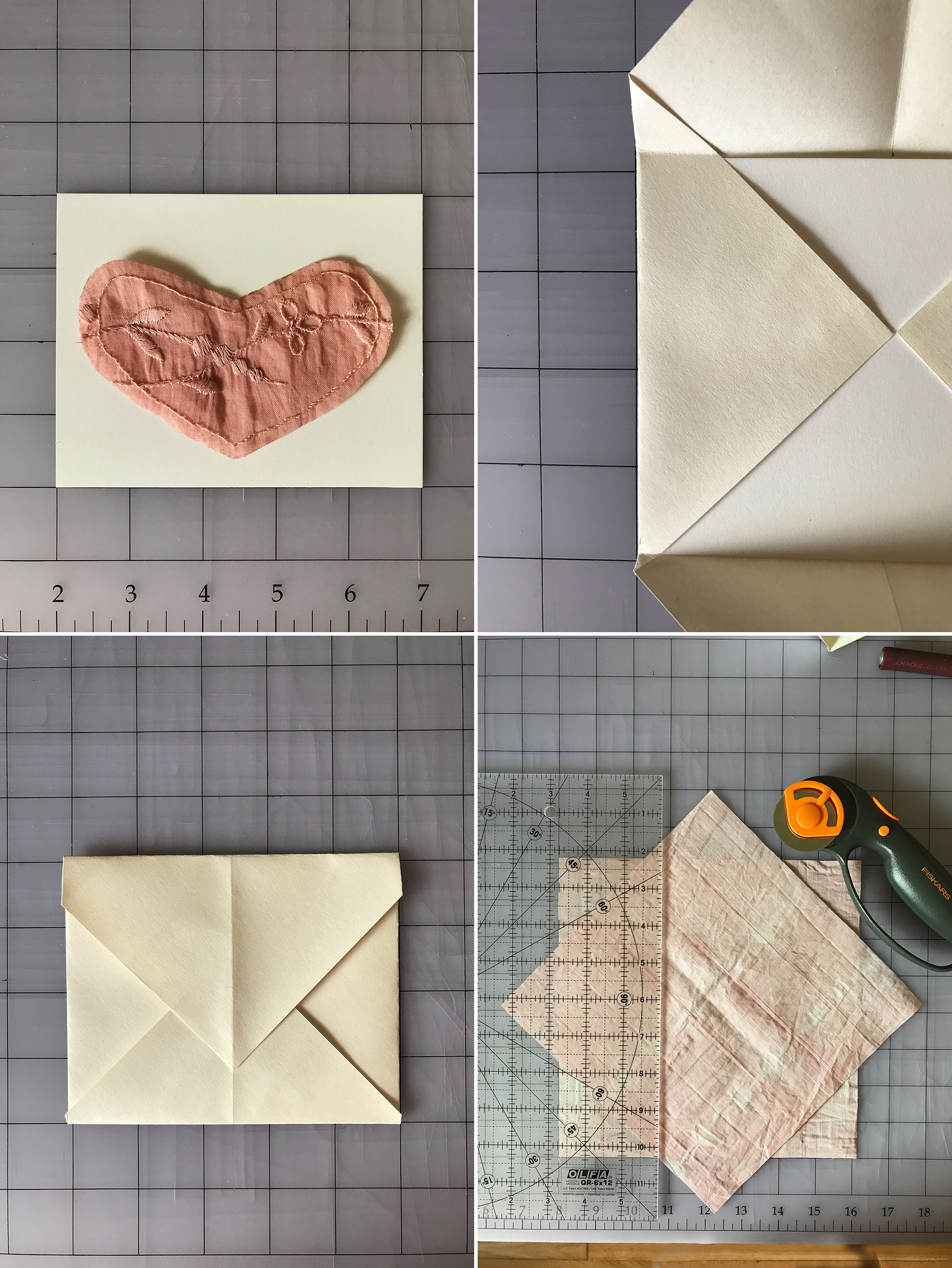 """5. Cut a piece of cardstock to a 4"""" x 5"""" (10cm x 13cm) rectangle and verify your heart fits comfortably within the space.  6. Cut a piece of scrap paper to 7-1/8"""" x 7-1/8"""" (18cm x 18cm). Set the paper at a 45˚ angle and set your cardstock just a little above center top-to-bottom and centered side-to-side. Use the 45˚ marking on your quilting ruler to verify you're lining things up squarely. Fold the corners in for the side flaps; they should just barely touch noses like an Eskimo kiss. Use your fingernail to score the side flaps where the top and bottom edges of the cardstock sit. You should have tiny triangles on the flaps at the bottom and larger triangles on the flaps at the top.  7. Crease the folds. You're now going to replicate the envelope shape in fabric. Keeping the paper version as a reference will be helpful when you go to fold and press your fabric.  8. Using a quilting ruler and rotary cutter, cut two pieces of cotton fabric to the same size as your pattern—7-1/8"""" x 7-1/8"""" (18cm x 18cm)."""