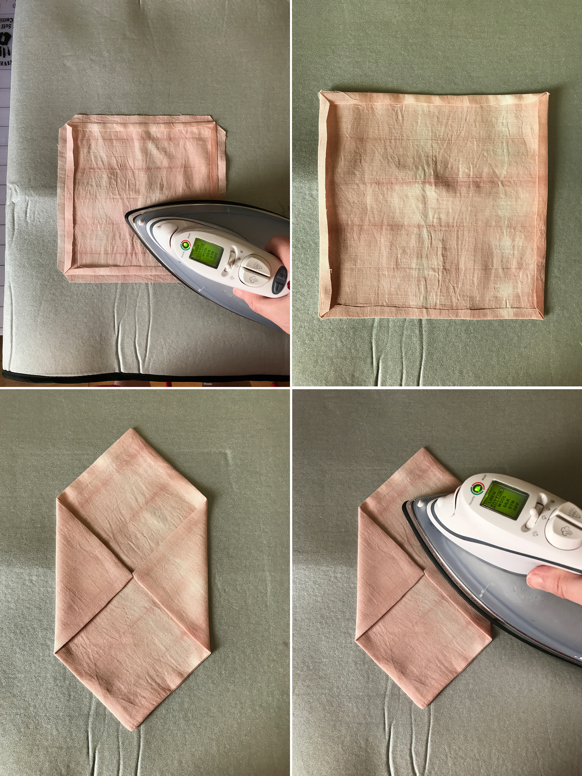 """13. Press the seams back using an iron.  14. Do this for both sides.  15. Carefully turn the work right side out, using a blunt pencil or dull-tipped dowel to make the corners nice and sharp. Fold in the side flaps until the """"noses"""" touch, using your paper pattern for reference (the cardstock as well if it makes things easier).  16. Create well using the iron."""