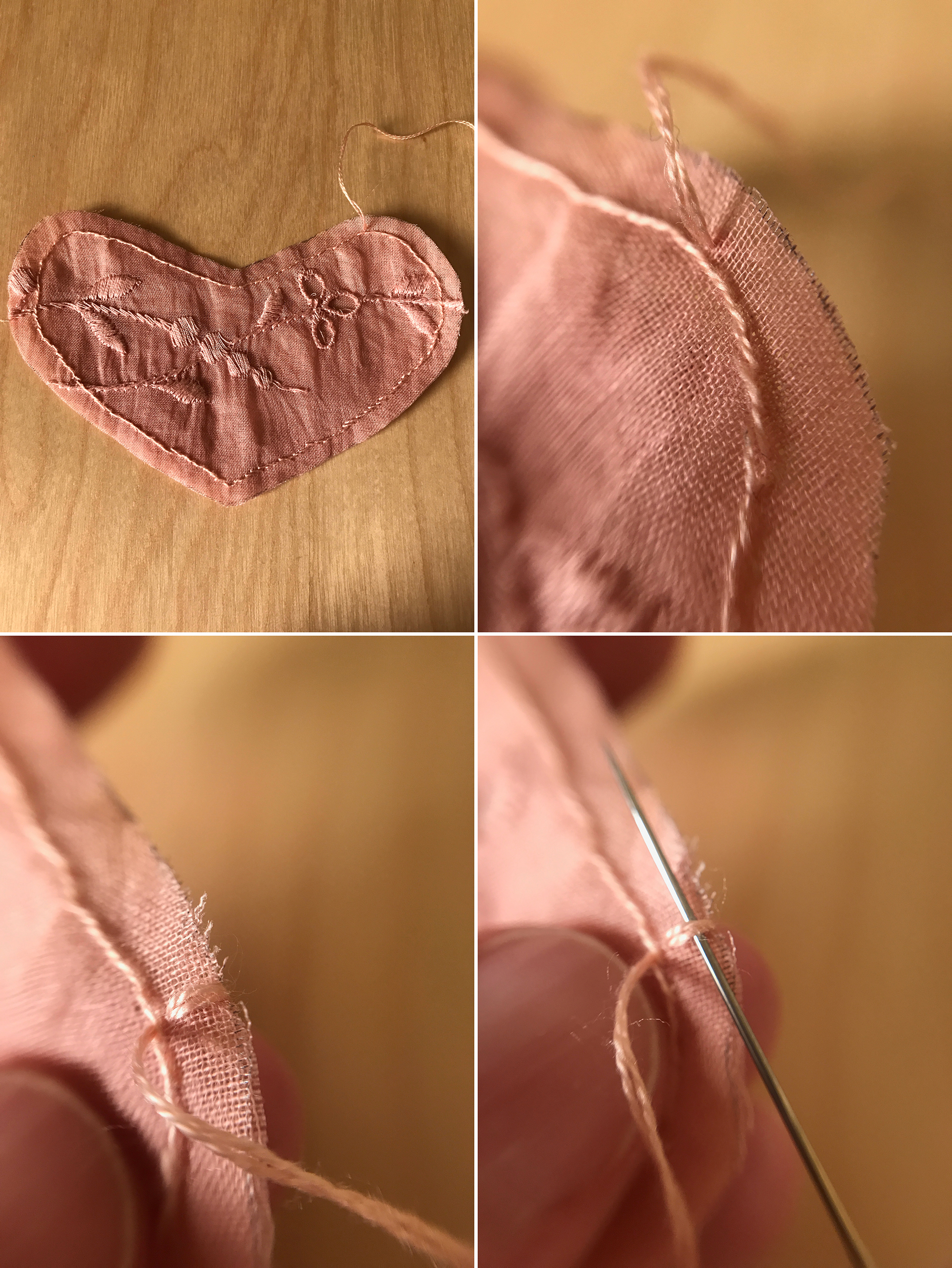 """21. Set the envelope aside and return to your sweet lace heart. You're now going to use blanket stitch (a.k.a., button-hole stitch) to both finish the edge as well as secure it to the back of the envelope. First you want to finish the portion that will not be secured to the envelope and will allow the heart to become a pocket. To begin, thread an embroidery needle with two strands of floss. Tie a knot at one end and insert the needle from back to front through only the top lace piece. Position this very close to the stitching that's already there and at the highest point of the right """"lobe.""""  22. (Close-up of positioning.)  23. Bring the needle around the work to the back and this time go through both pieces of fabric, coming out through the original top hole. This creates a loop.  24. Insert the needle through this stitch."""
