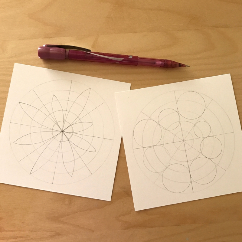 Now decide how you'd like to visually score each section of the pie. For the example on the left, I put a small dot in the center of each section at the point along my 1 to 5 scale. This became the point of a petal for each area. For the example on the right, again I made little dots at the points I rated each area. These dots became the tops of circles that fit within the wedges. So the areas I rated a 5 were the largest and touched the outside circle while the areas I felt less satisfied with had smaller circles nearer the center.