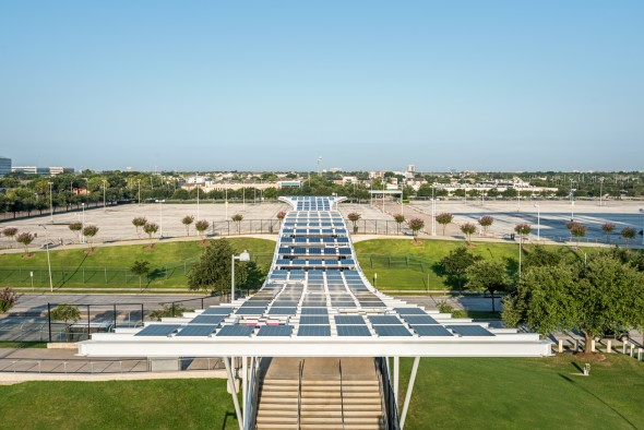 NRG Stadium features 180 kW of solar energy thanks to its solar canopy structures across many areas of the property.(Photo/NRG)