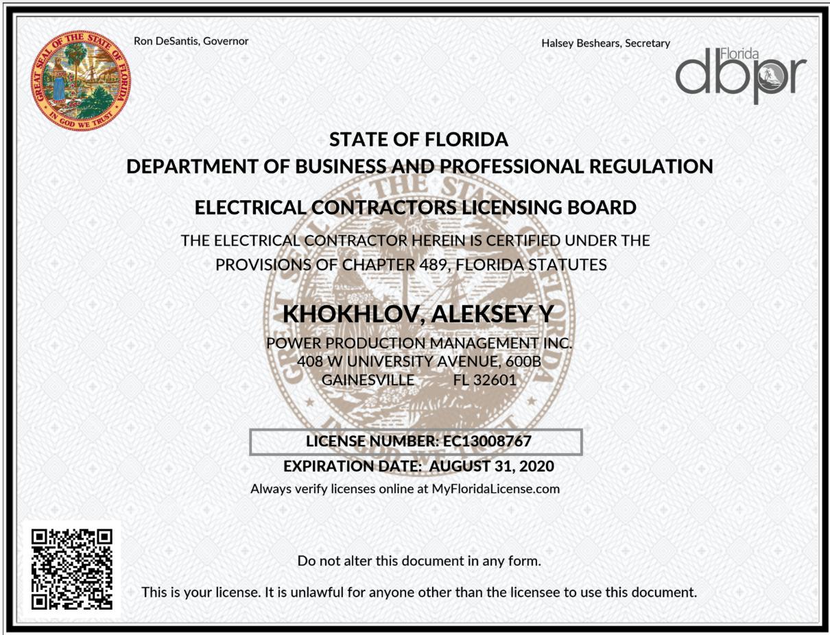 Florida Electrical License