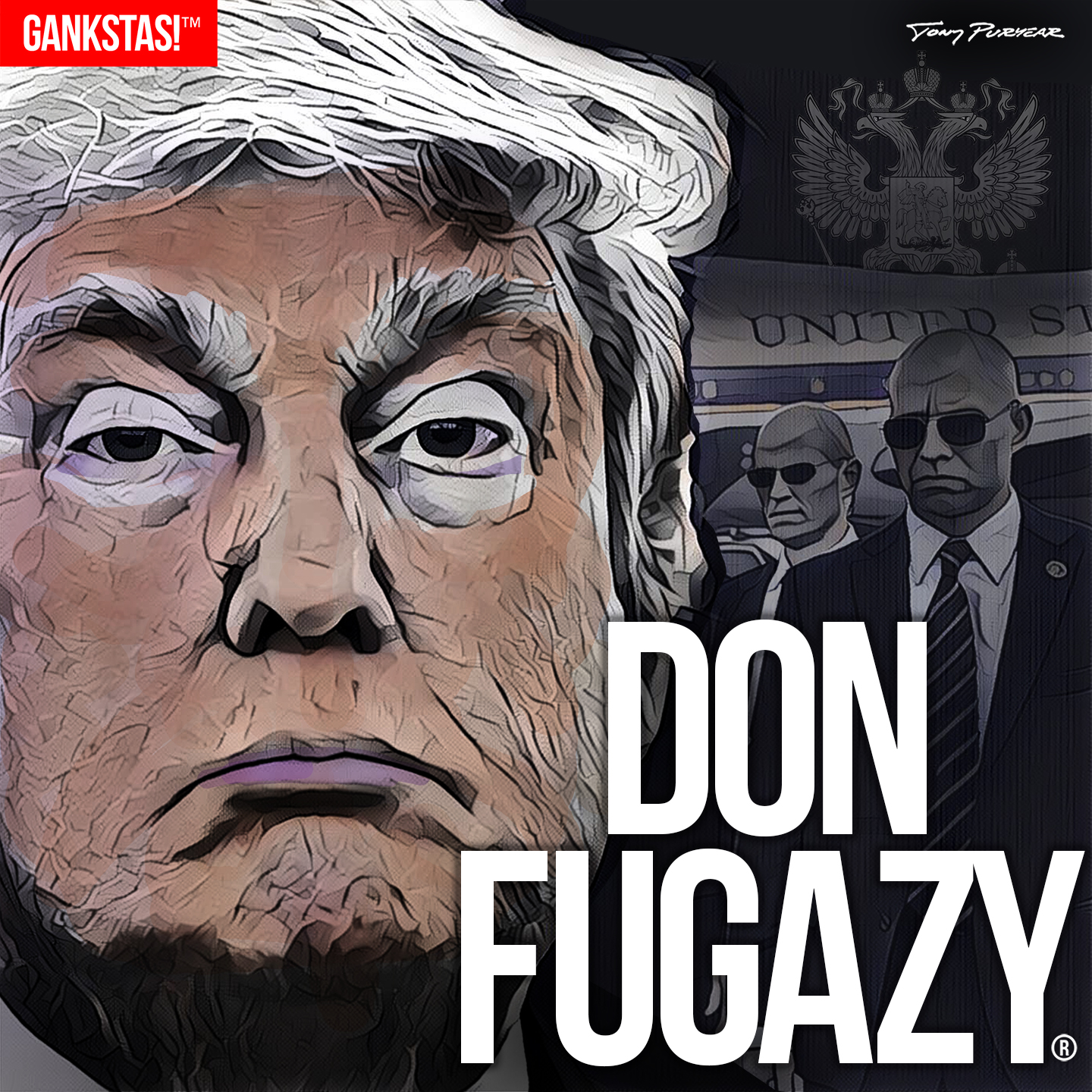 """"""" DON FUGAZY """" - 2017, digital print on acid-free paper, 14.5""""x14.5"""" - """" Fugazy """"  n. - a fake, something bogus, a counterfeit . The word, long a part of New York City slang, was popularized in the 1997 film """"Donnie Brasco"""" starring Johnny Depp and Al Pacino."""