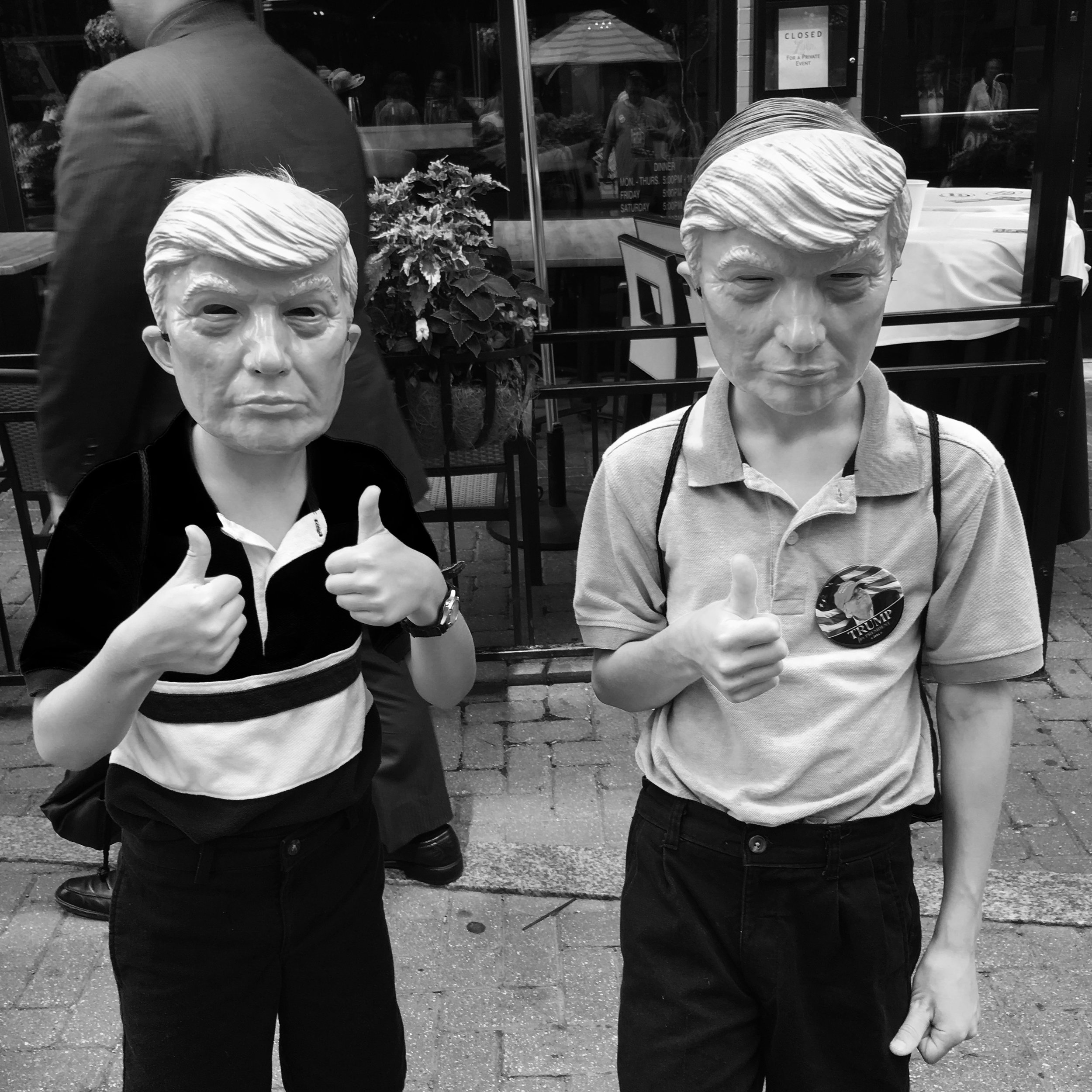 """ Tomorrow Belongs To Me  - Cleveland, 2016"" Photo © by Tony Puryear, 2016 all rights reserved. Photo of two boys in Donald Trump masks at Republican National Convention."