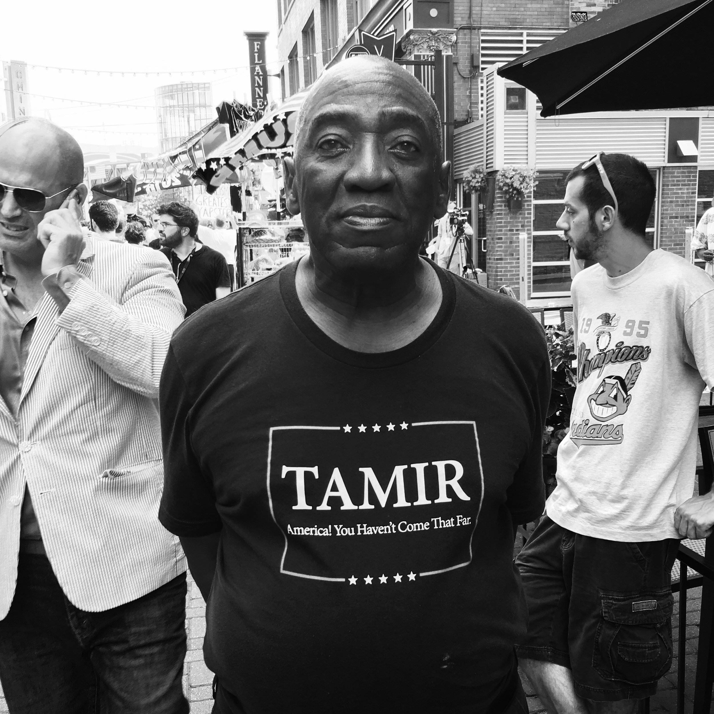 """ Tamir  - Cleveland, 2016"" Photo © by Tony Puryear, 2016 all rights reserved. Photo of Black man wearing a shirt commemorating Tamir Rice, the young Black boy who was shot to death by police in Cleveland for playing with a toy gun in a park. At the Republican National Convention."