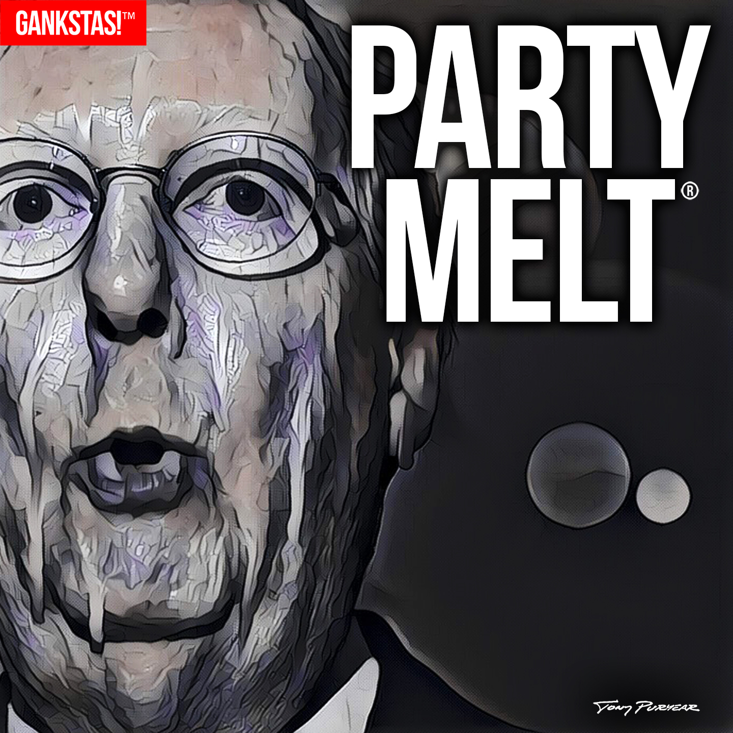 """"""" PARTY MELT """" - 2017, digital print on acid-free paper, 14.5""""x14.5"""" Portrait of  Mitch McConnell , a man who more than anyone excepting Trump, has sent this country into a spiral of lawlessness and chaos. And perhaps, the eventual death of the Republican Party. We can only hope."""