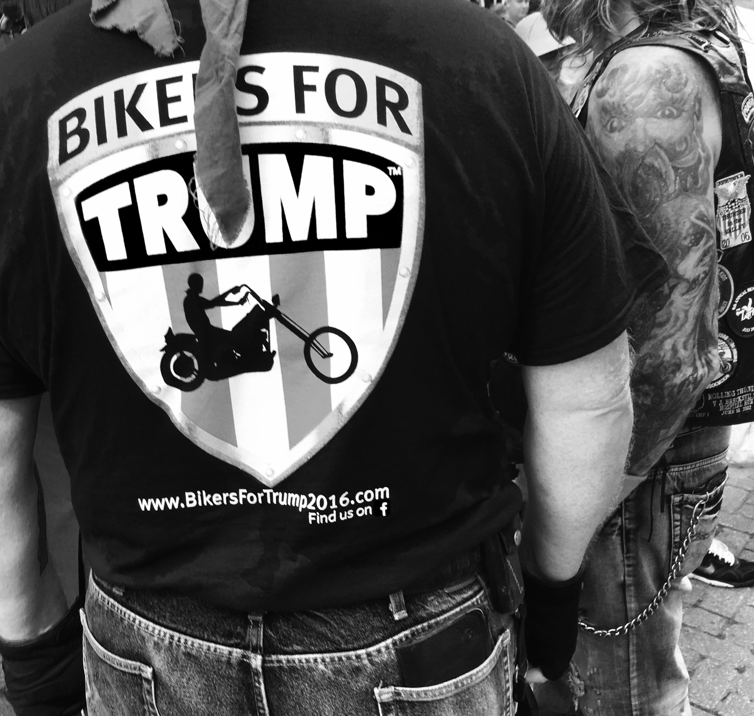 """ Bikers For Trump, Find Us On Facebook  - Cleveland, 2016"" Photo © by Tony Puryear, 2016 all rights reserved."