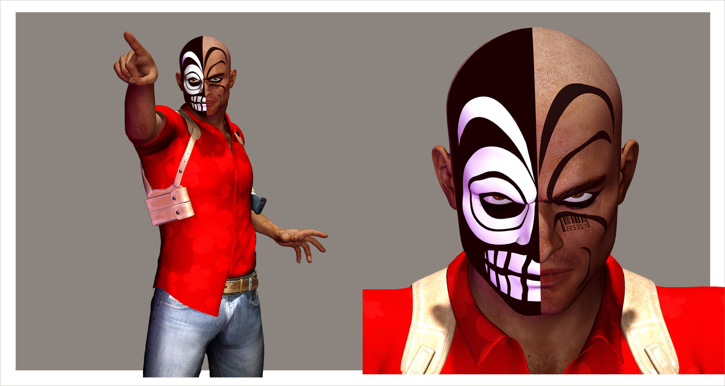 """"""" Vida Muerte """" The undead assassin. His Day-Of-The-Dead-inspired makeup must be drawn accurately, and this 3D model helps to insure that it will be."""