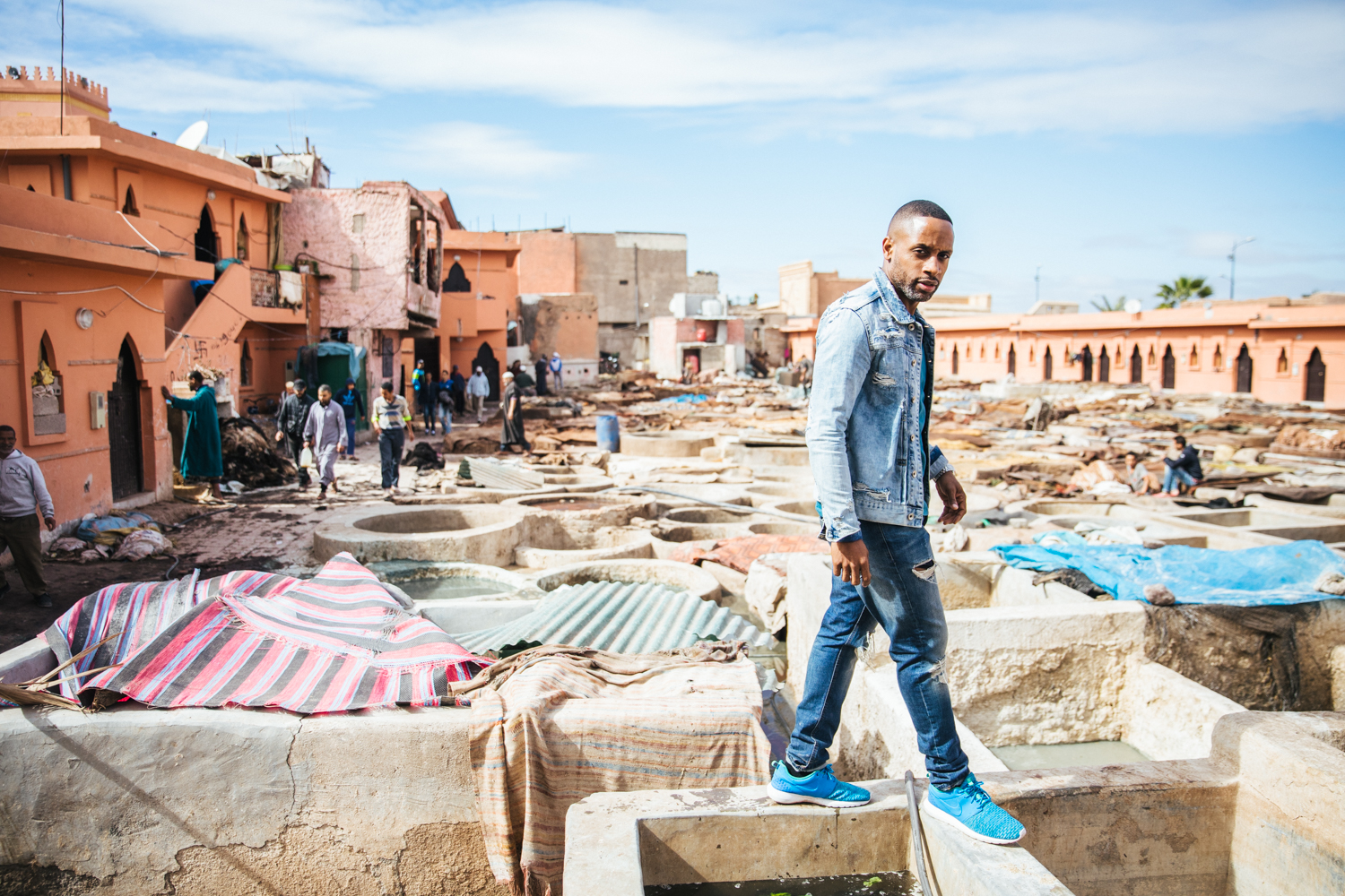 My best friend, Apuje, navigating his way over the tannery tubs. I can promise you there is no worse smell than the tanneries... its like a dumpster juice smoothie but worse.