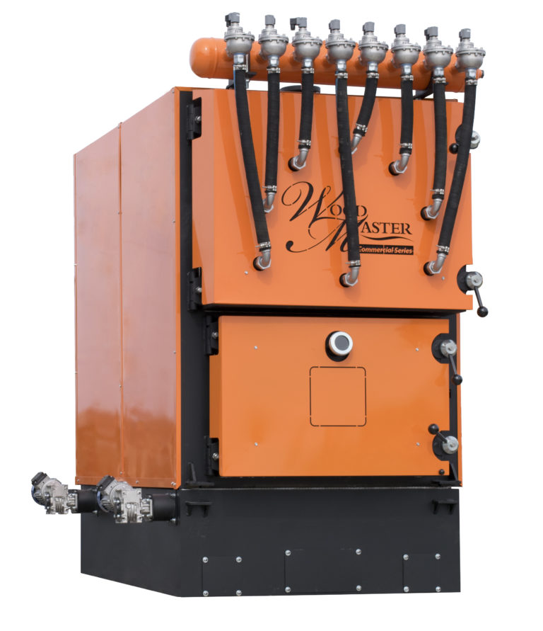 Woodmaster biomass-fired wood pellets or wood chips up to 6,800 MBH and 92& LHV efficiency!
