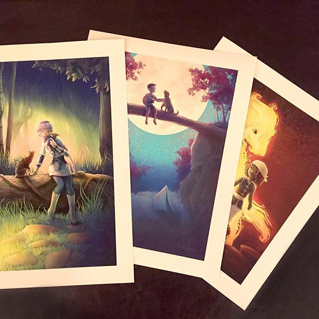 Some new prints for the store.  www.ruthjohnsonart.com  #fantasyart #fantasyartist #fantasycharacter #fantasypainting #childrensillustration #artforkids #kidsroom #artforkids #catlover #woods #forestlovers #illustration #instaart #birdlover #campingwithdogs #campinglife #forestlife #naturelovers #moonlit #music #guitar #campingfun #song #doglover #labrador #wolf #firewolf