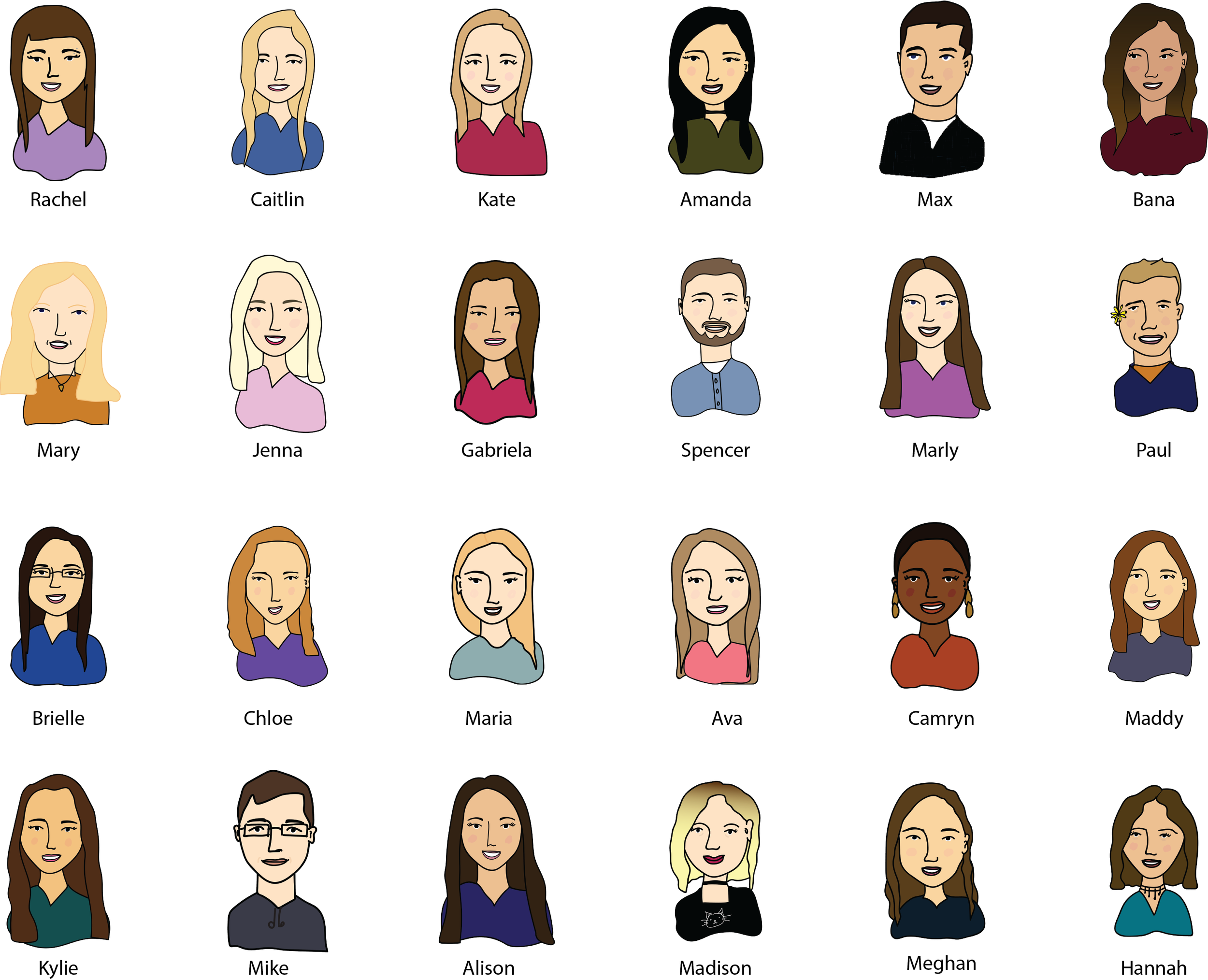 Drew up the 2019 intern & apprentice summer class with our mentors for an internal weekly newsletter! Here are all the interns. (Mentors not included)