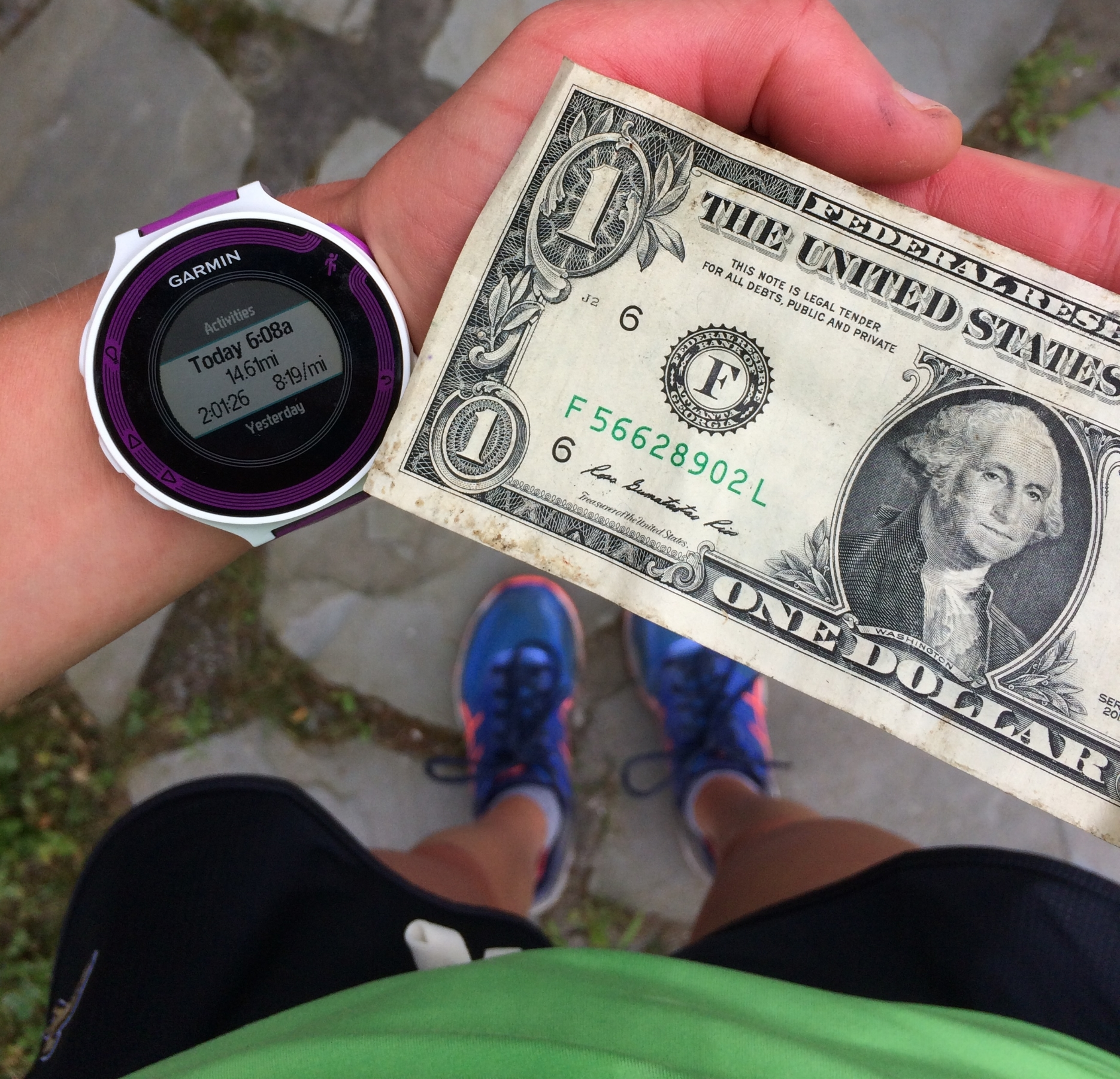 Found a dollar on the side of the road during my long run today.Not the highest paycheck (only 50 cents an hour), but I'll take it!