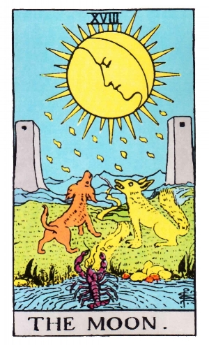 The Moon card represents mystery, that which is hidden from view...