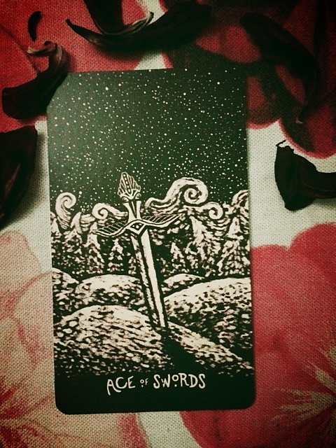 Ace of Swords from my new, incredibly beautiful Light Visions deck