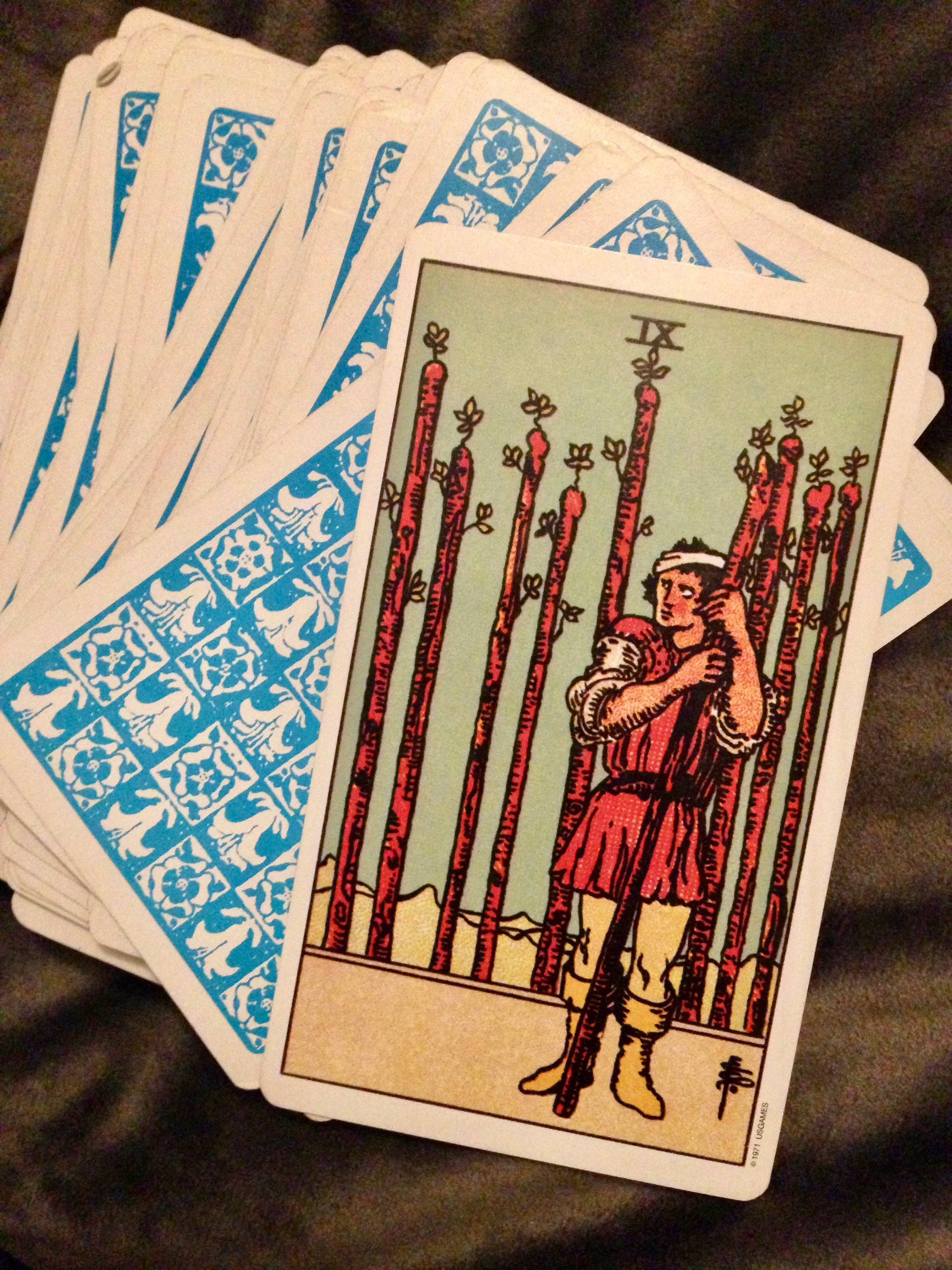 the classic Rider-Waite-Smith Nine of Wands