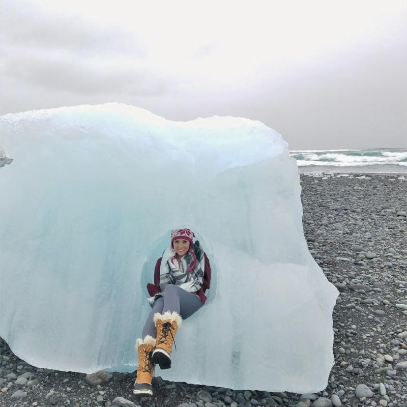 Diamond Beach in Iceland has icebergs on a black sand beach