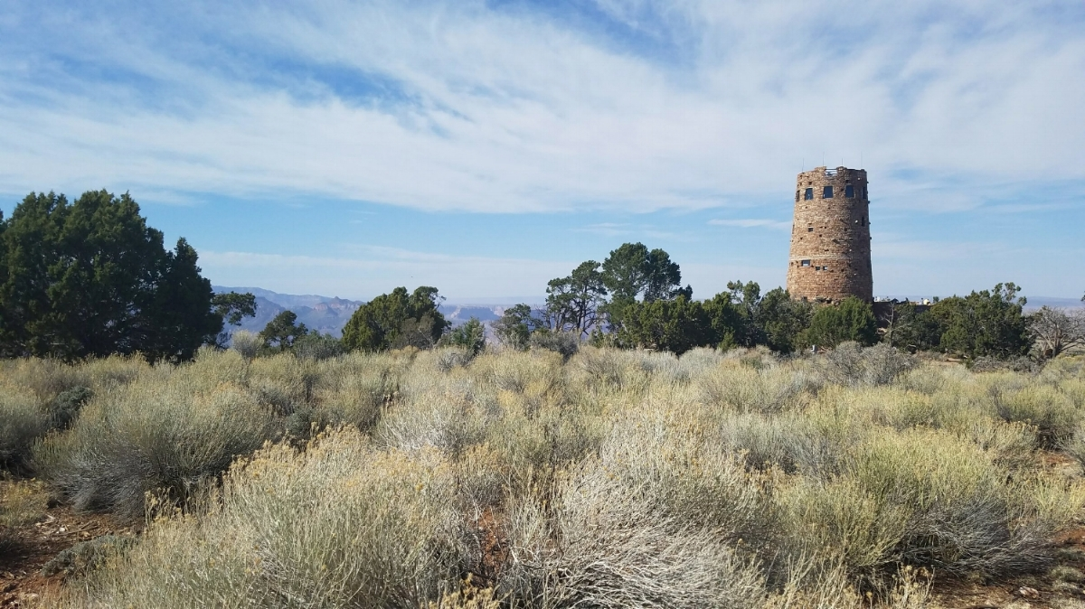 The Desert View Watchtower at the Grand Canyon has views of the Colorado River. Take a scenic drive here during a day at the South Rim of Grand Canyon National Park. #GrandCanyon #Arizona #Travel