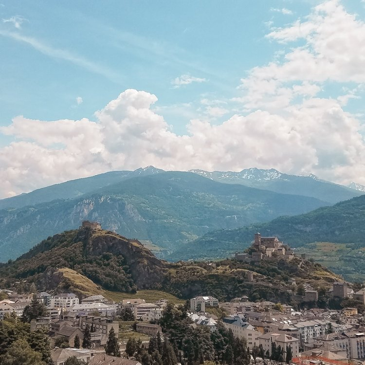 Two hills in Sion, Switzerland, each have a castle on top that you can walk to.