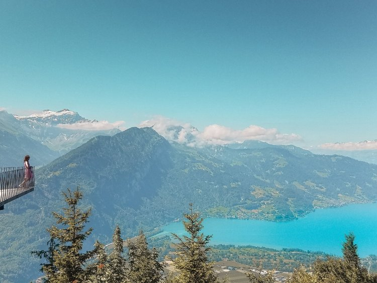 The Harder Kulm viewpoint sits above the turquoise Lake Thun in Interlaken.
