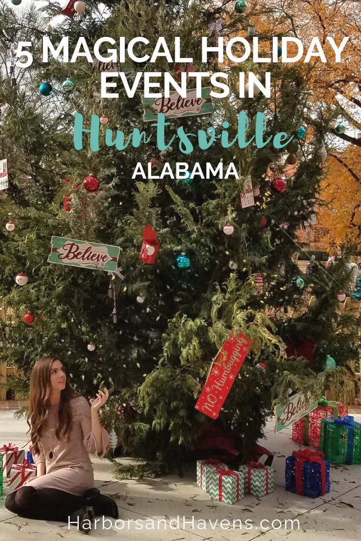 These holiday attractions and events in Huntsville, Alabama, will help you get in the festive spirit, from Santa meet-and-greets to dazzling light displays. #Holidayevents #Holidays #Christmas #Huntsville #HolidayTravel