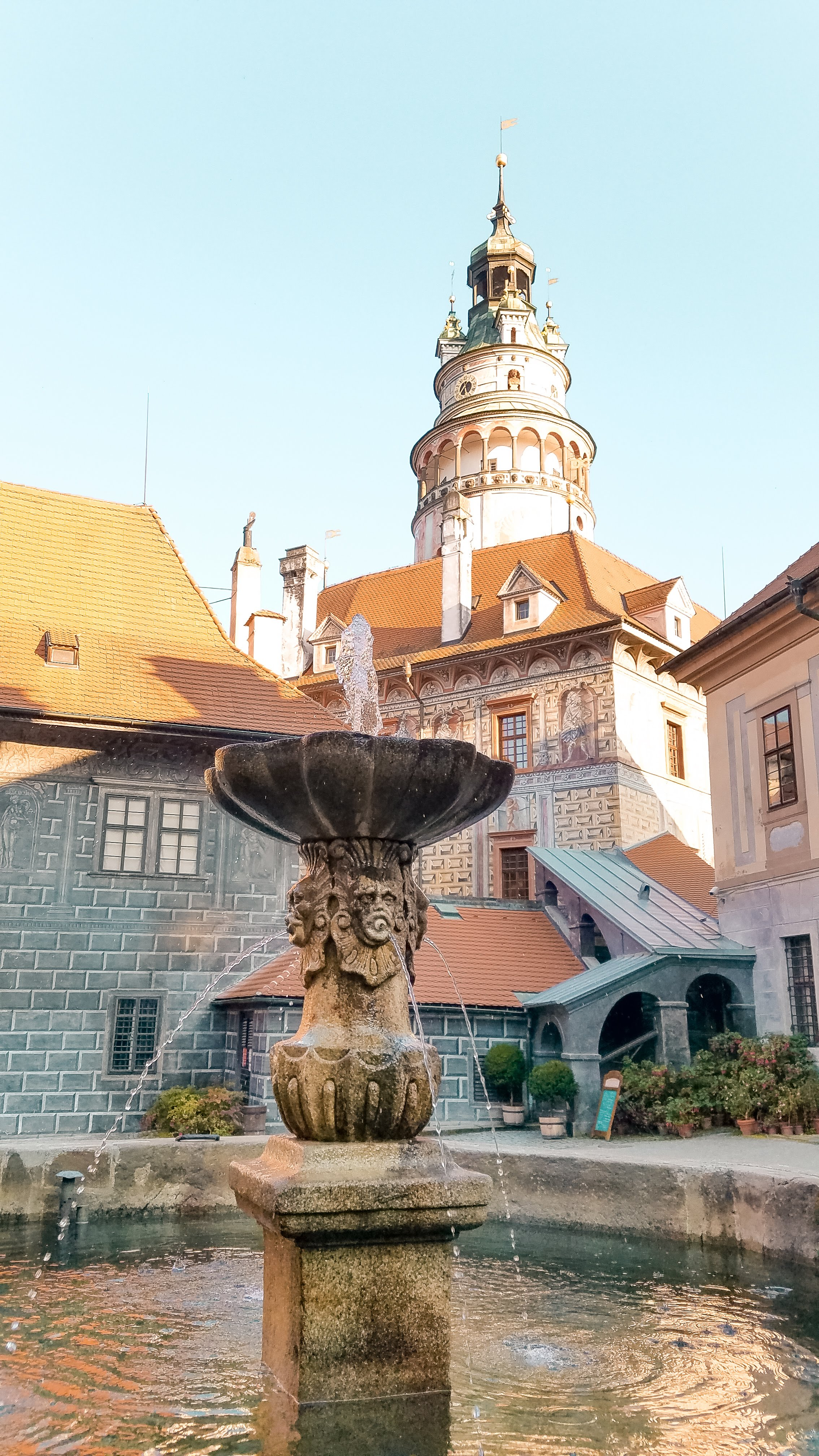 The Castle Tower in Cesky Krumlov is a piece of art with its colorful murals and detailed designs. You can climb to the top for a view of the town.