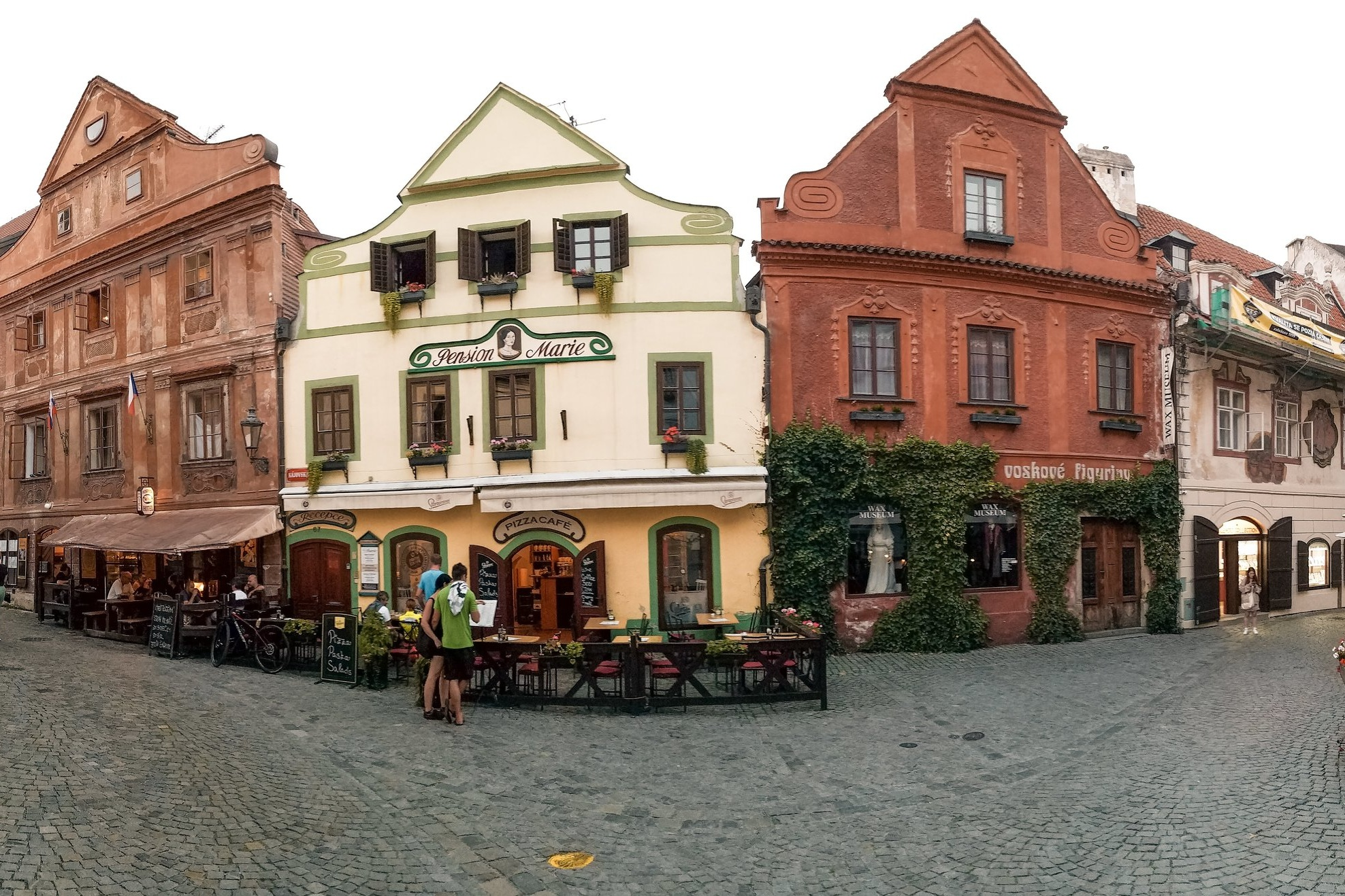 The historic buildings in downtown Cesky Krumlov come in all many different colors and designs, with elements of Baroque and Renaissance styles.