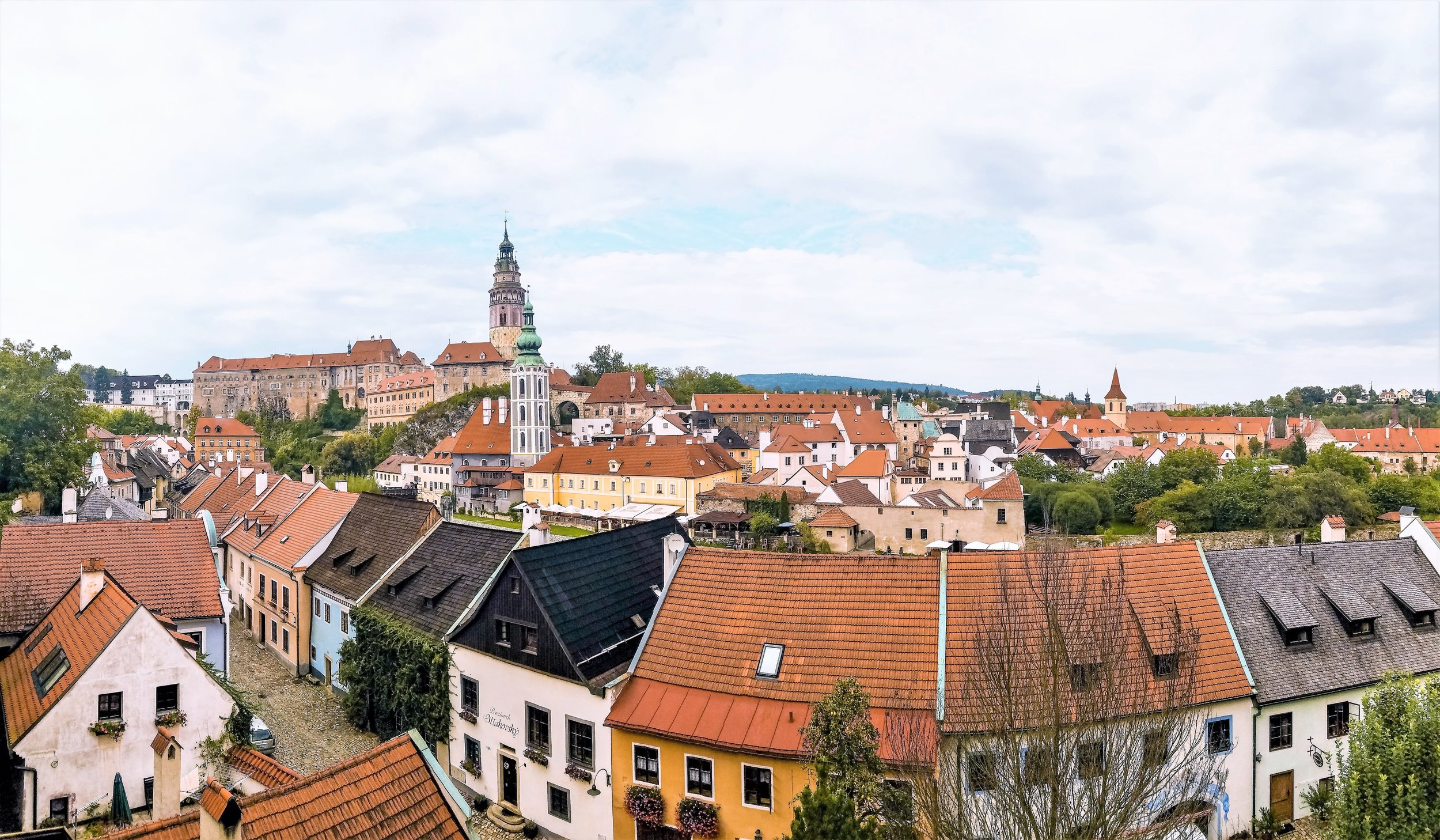 Downtown Cesky Krumlov is full of old buildings with Baroque and Renaissance designs.