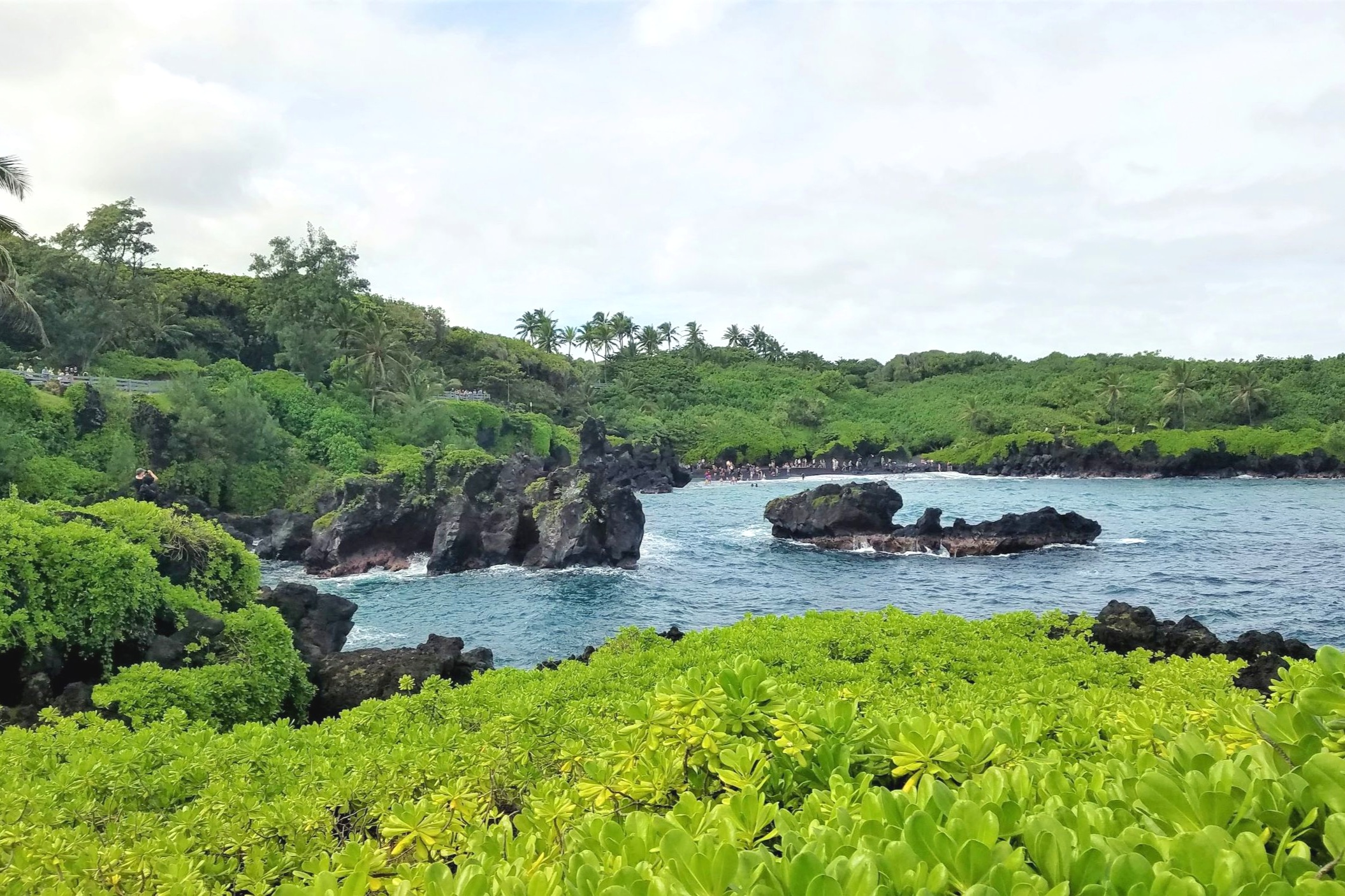 This black sand beach on the Road to Hana map has jagged black rocks and vibrant greenery.