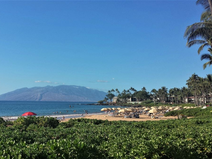 Maui lodging on the South Coast in Wailea includes these resorts that surround a sandy beach with views of an offshore island.
