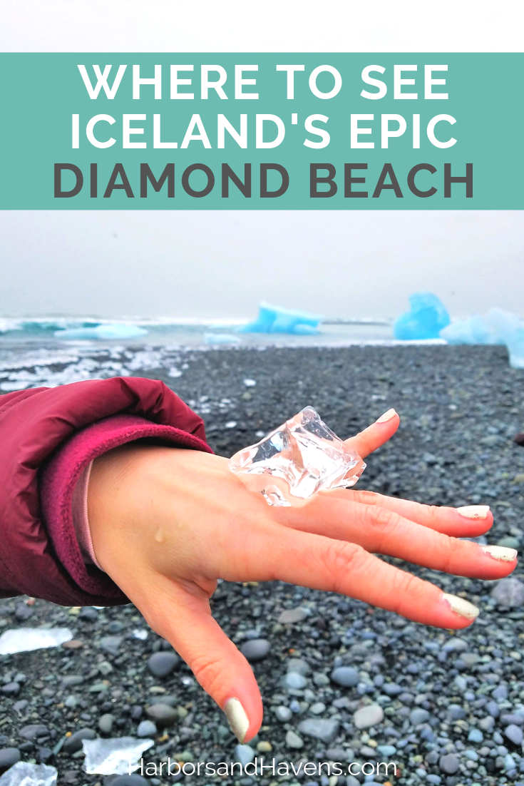 Did you know you can watch icebergs wash onto a black sand beach in Iceland? This guide will help you visit Iceland's Diamond Beach and Jokulsarlon glacier lagoon. #Iceland #DiamondBeach | Diamond Beach Iceland | Jokulsarlon glacier boat ride | Jokulsarlon Iceland | Iceland Diamond Beach | Jokulsarlon Iceland travel