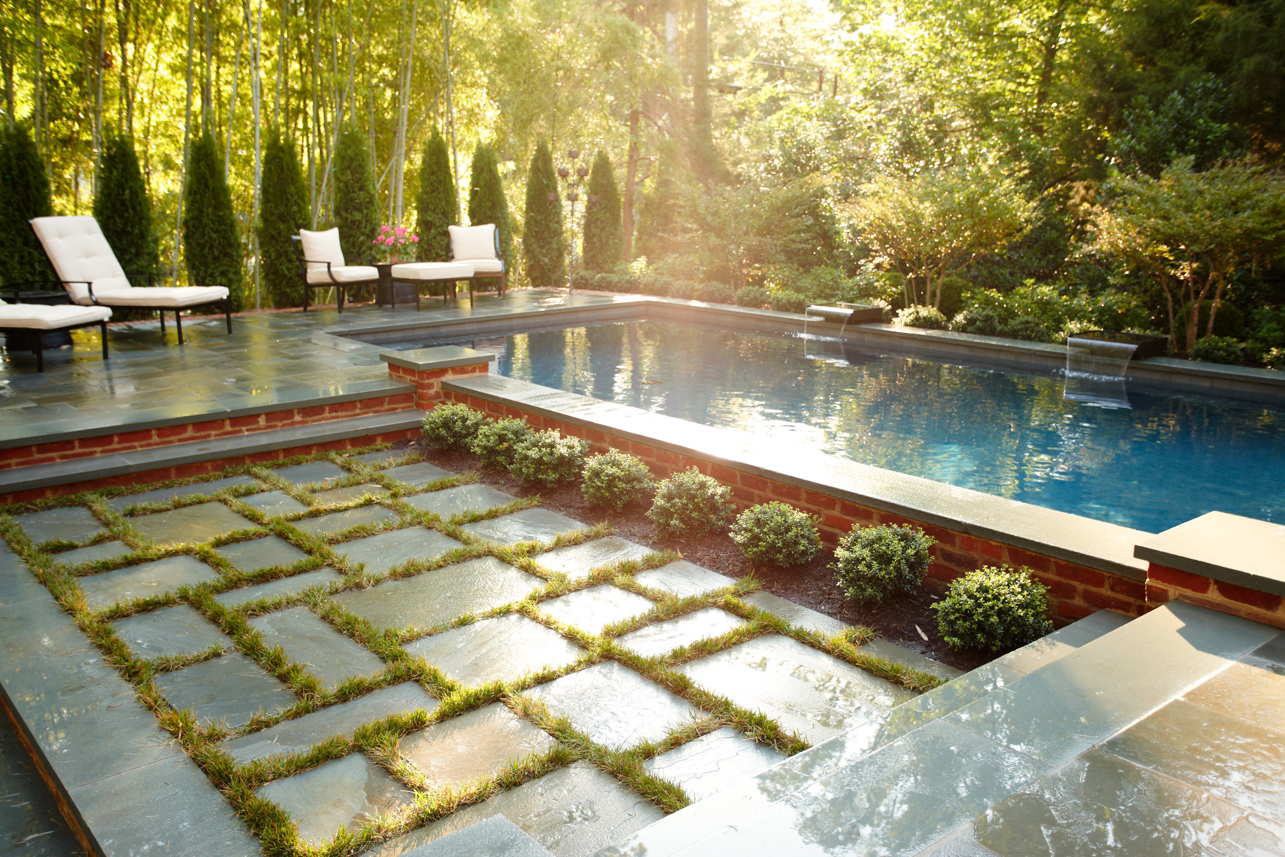 Asian Inspired Lap Pool With