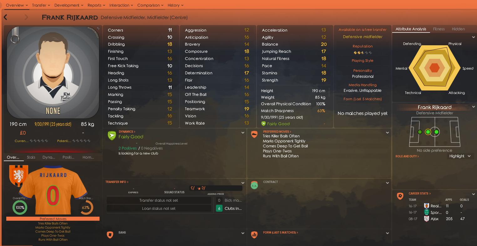 Frank Rijkaard FM18 Profile courtesy of @jadog9495 on Steam