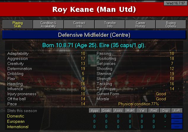 Roy Keane CM97/98 profile