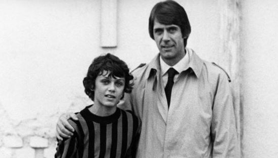 A young Paolo Maldini alongside father Cesare