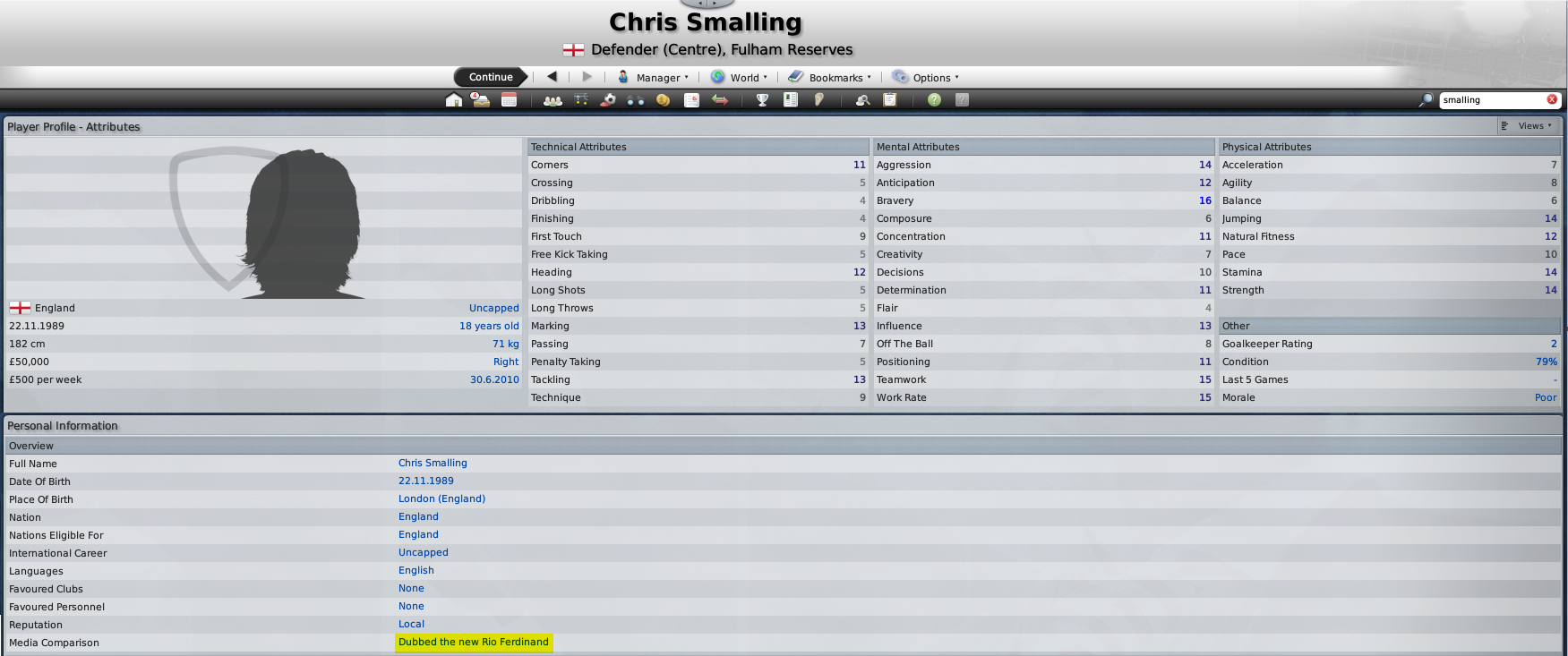 Smalling's FM09 Profile