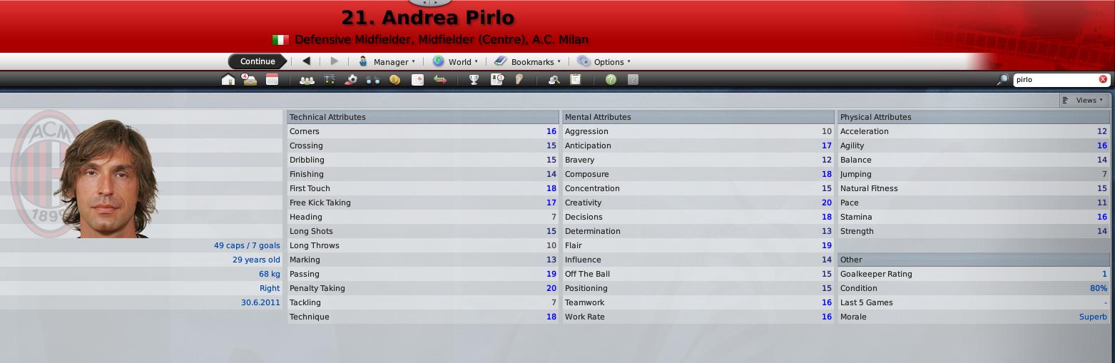 Pirlo's FM09 Profile