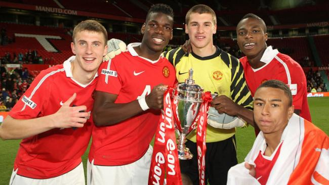 Sean McGinty alongside Man Utd youth teammates Pogba and Lingard