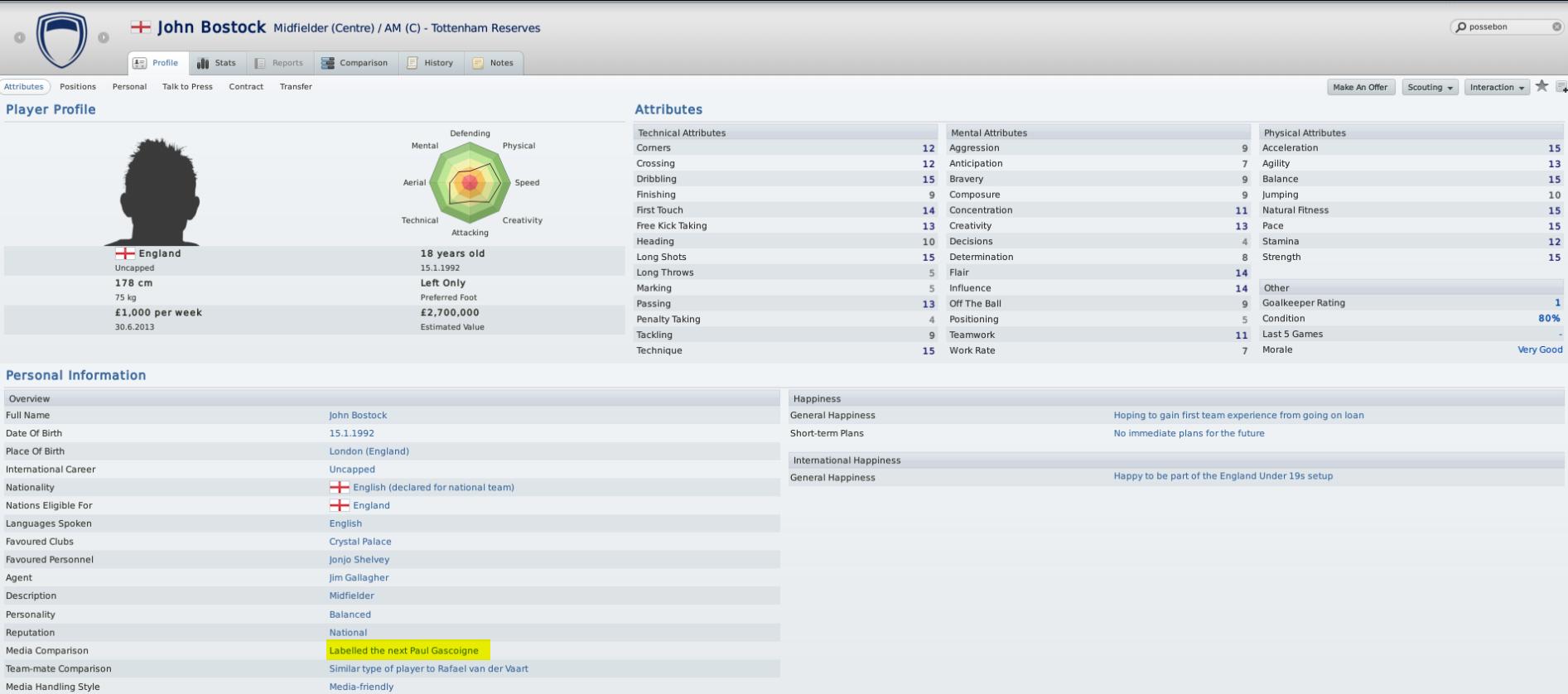 Bostock's FM11 Profile